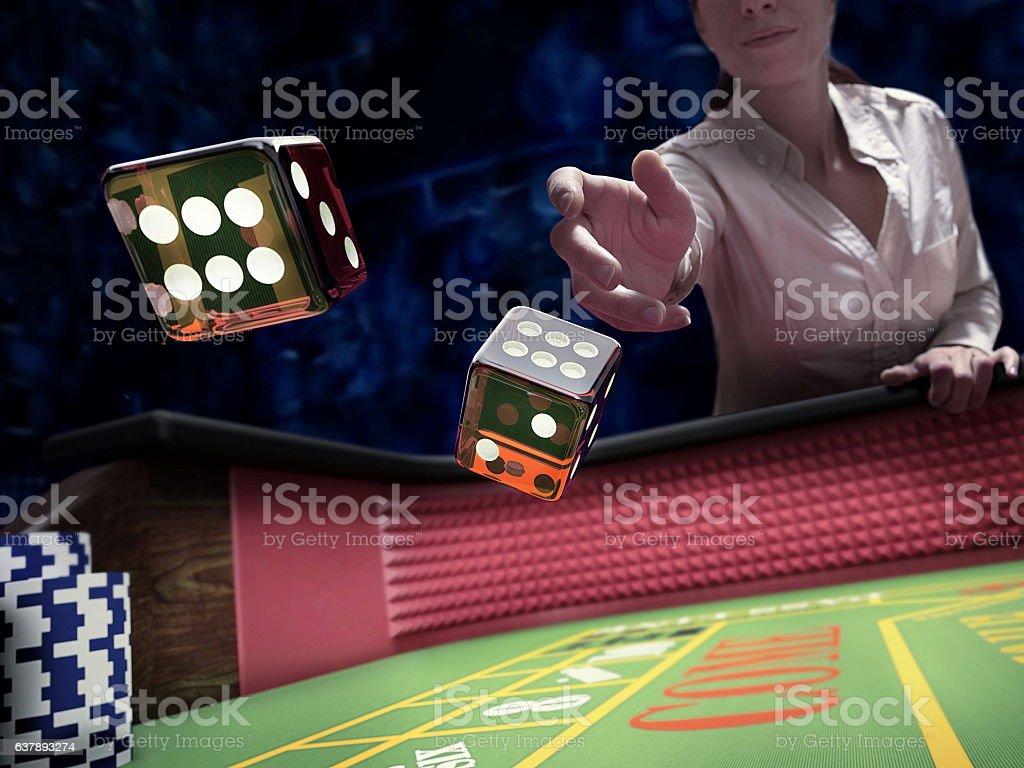 dices throw at casino stock photo