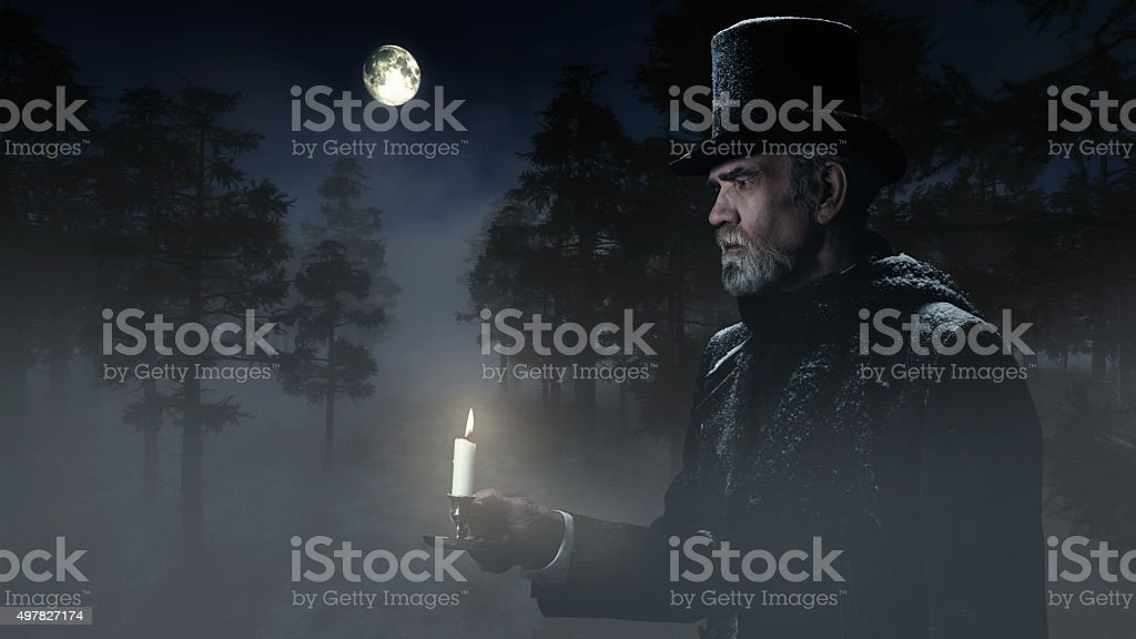 Dickens Scrooge Man with Candlestick Walking in Winter Forest at stock photo