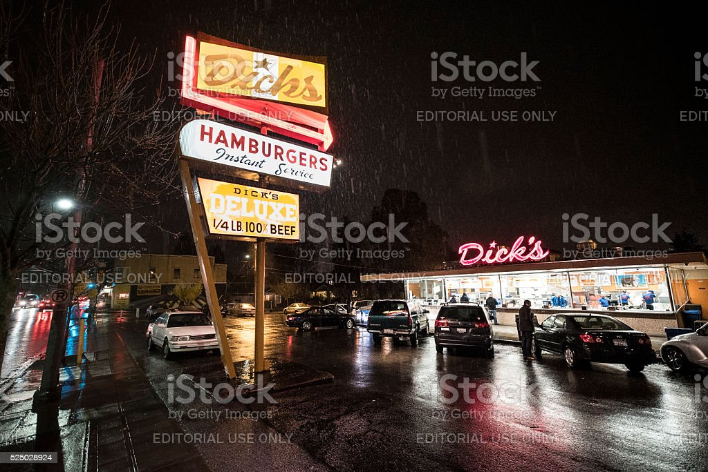 Dick's Hamburgers Original Drive-In Restaurant - Seattle stock photo