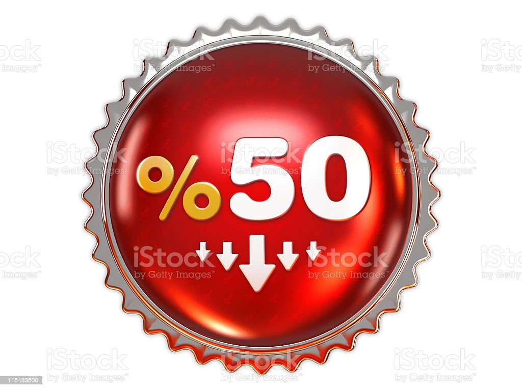 Dicount badge 50% royalty-free stock vector art