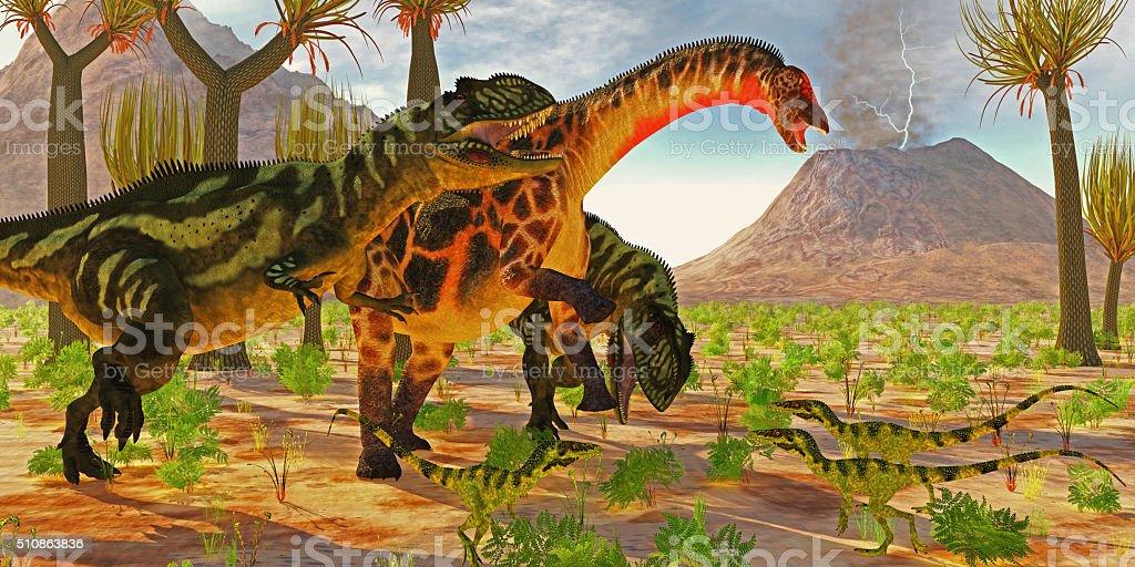 Dicraeosaurus attacked by Yangchuanosaurus stock photo