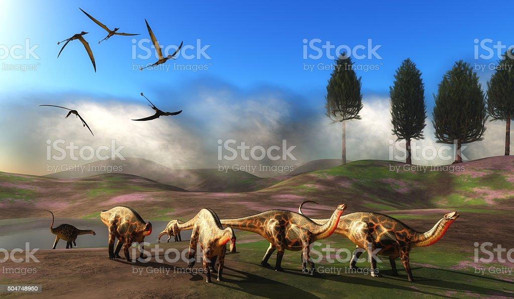 Dicraeosaurus Dinosaur Meadow stock photo
