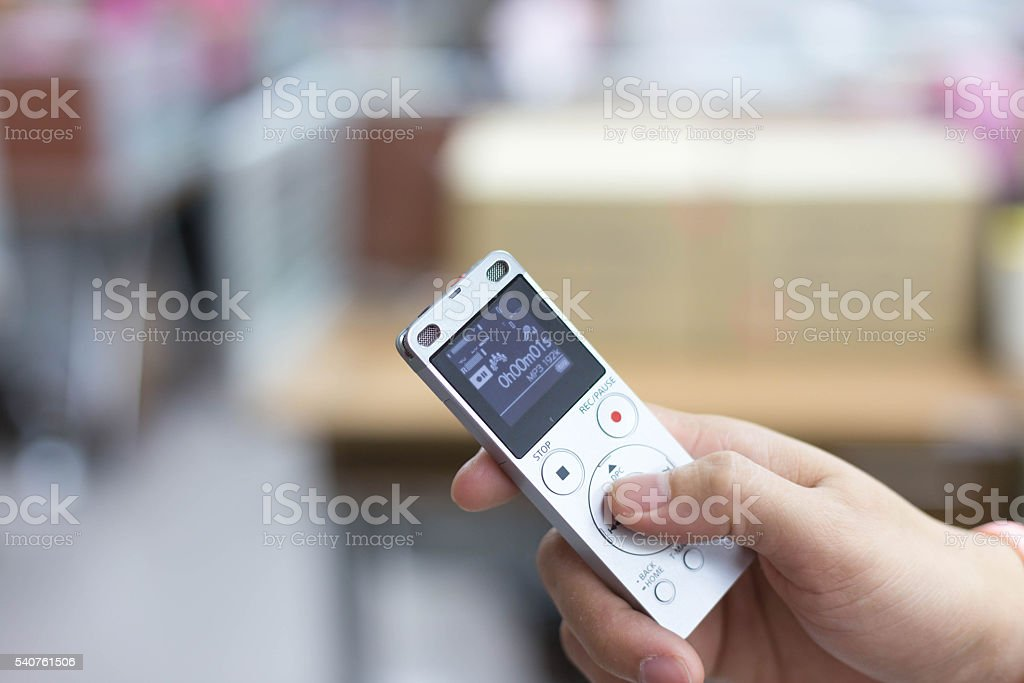 dictaphone in the office stock photo