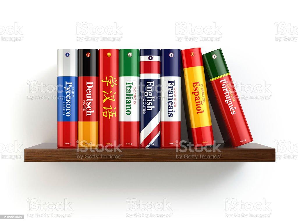 Dictionaries on bookshelf white isolated backgound. stock photo