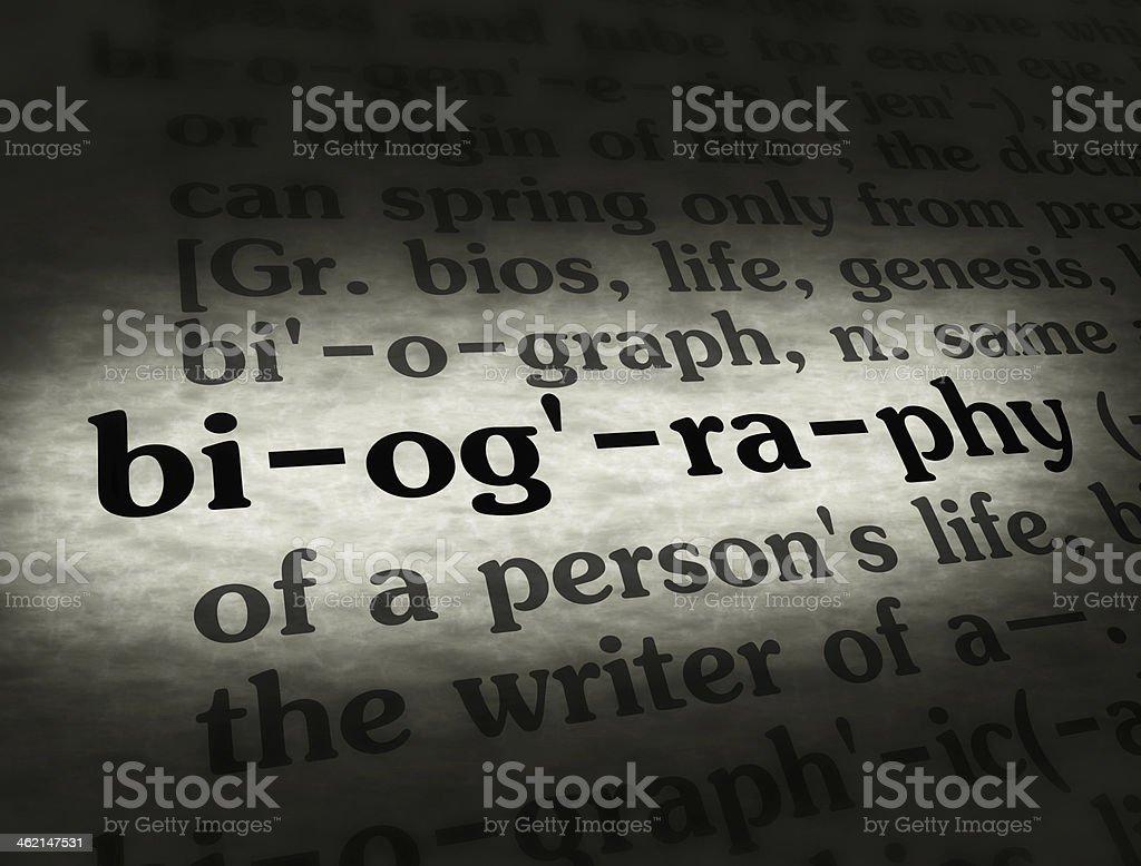 Dictionary Biography Black On BG stock photo