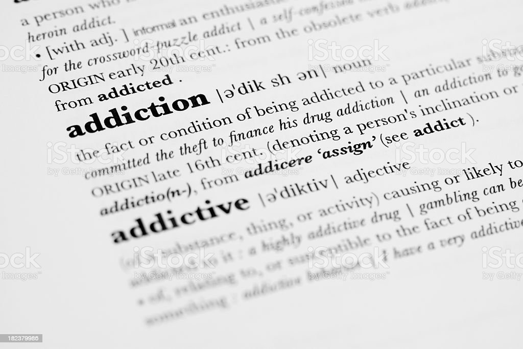 Dictionary Definition - Addiction. royalty-free stock photo