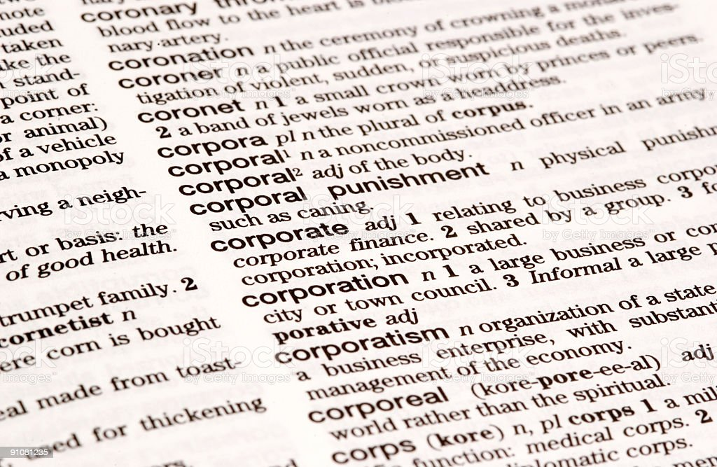 Dictionary Definition: Corporate royalty-free stock photo