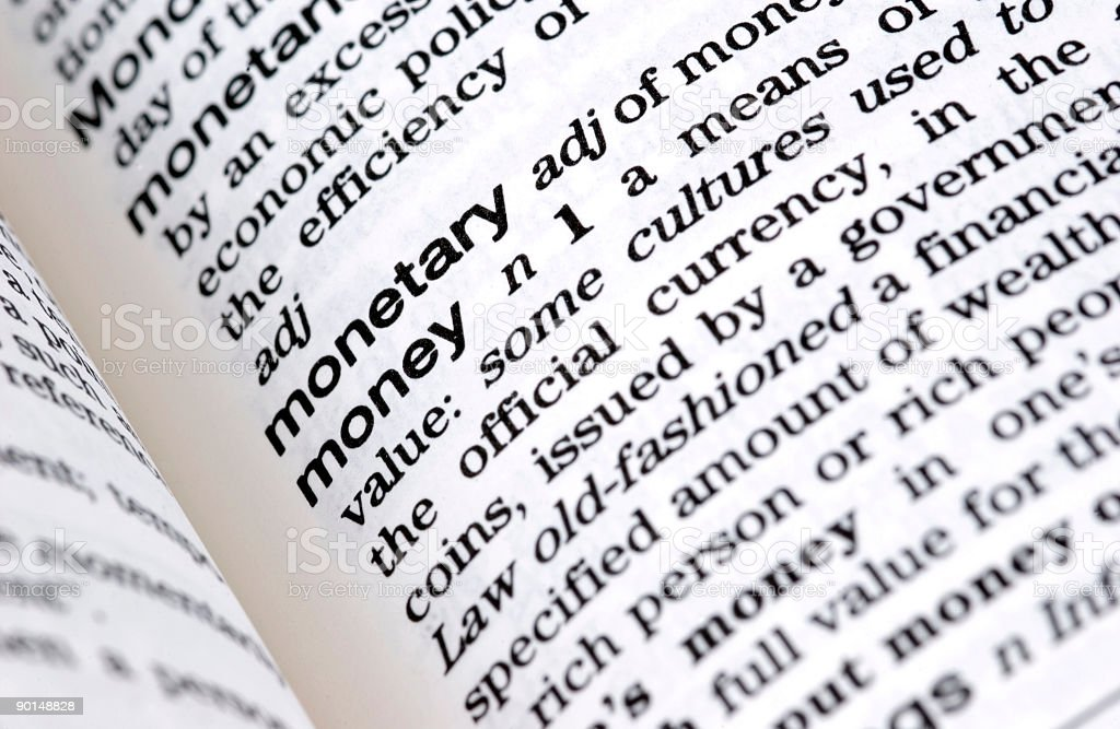 Dictionary Definition: Money royalty-free stock photo