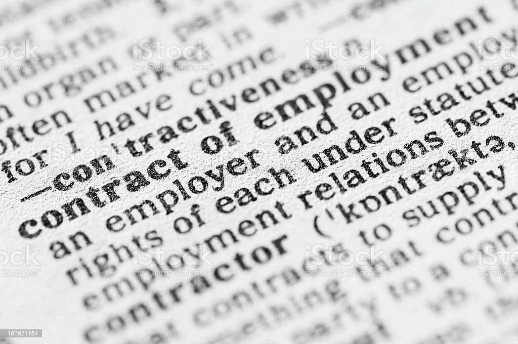 Dictionary definition of contract of employment royalty-free stock photo