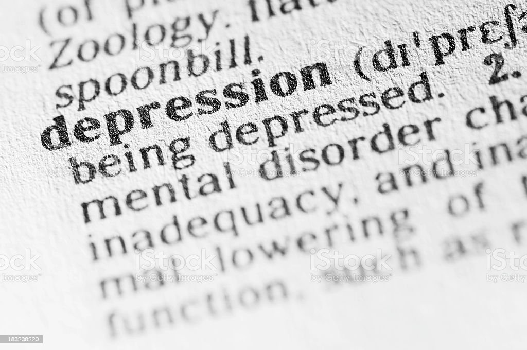 Dictionary definition of depression in black type stock photo