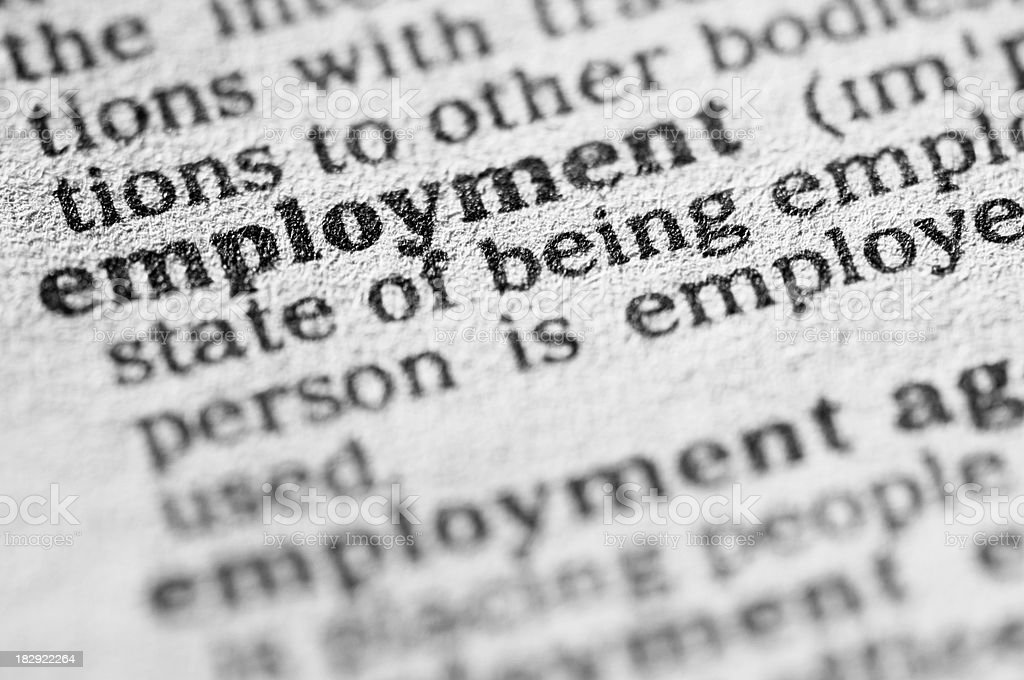 Dictionary definition of employment in black type royalty-free stock photo