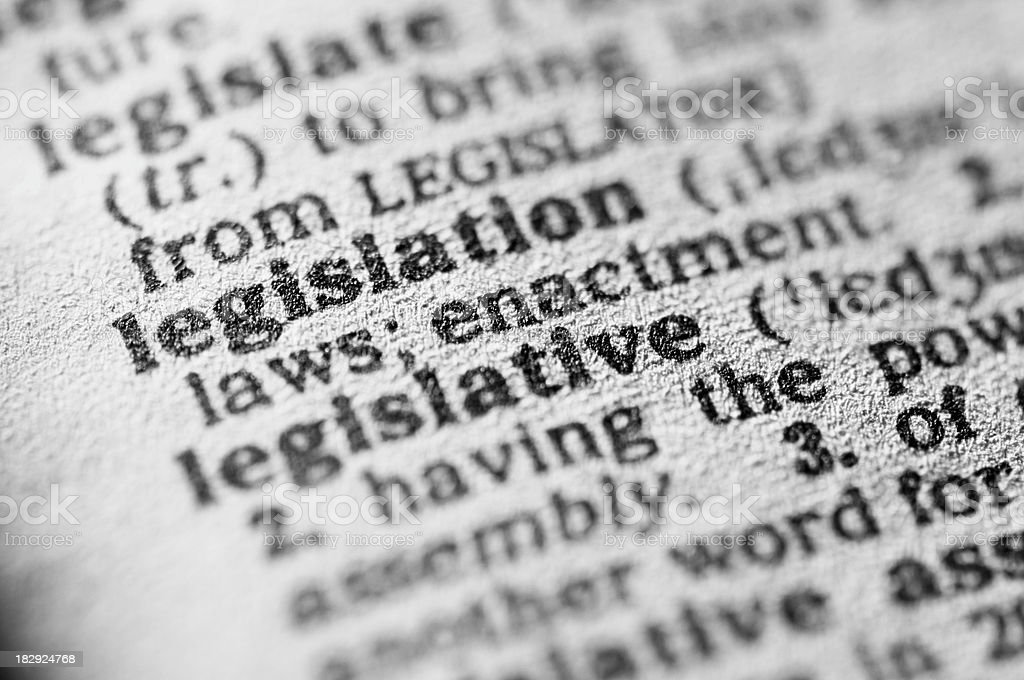 Dictionary definition of legislation in black type stock photo