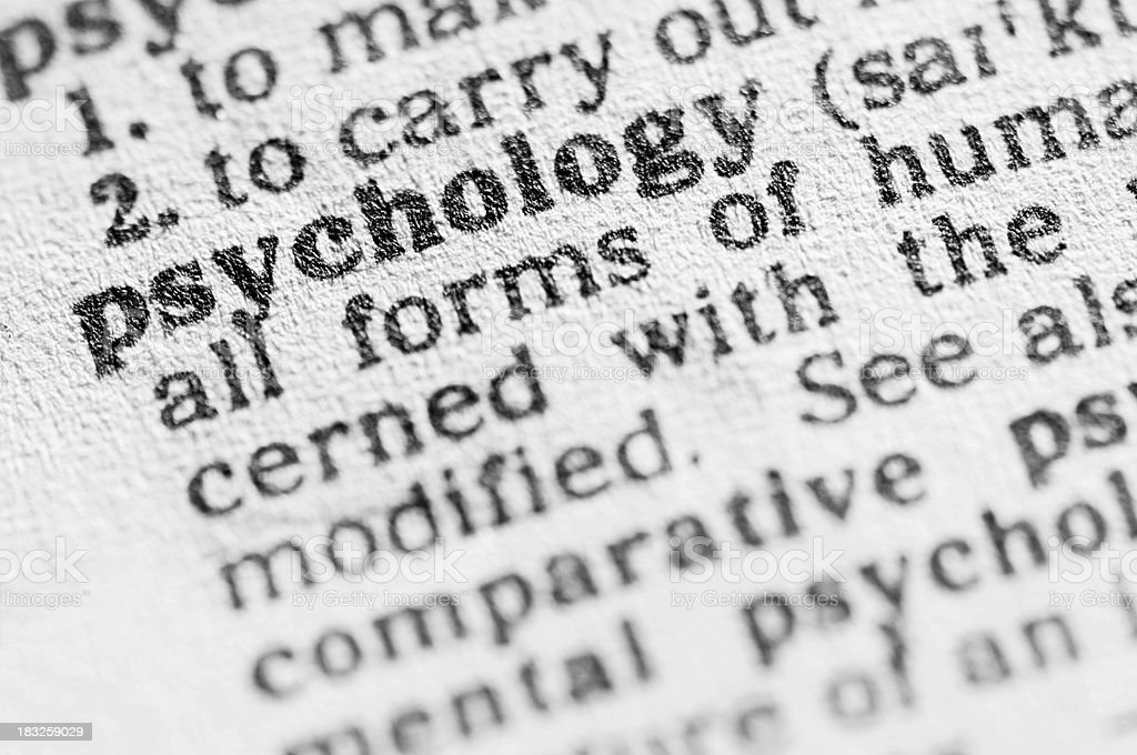 Dictionary definition of psychology in black type stock photo