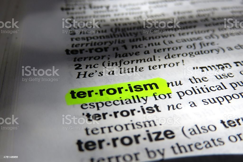 Dictionary definition of terrorism stock photo