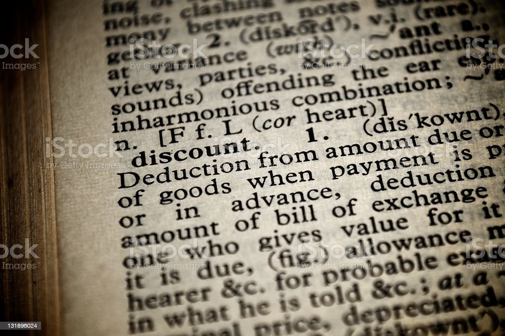 Dictionary definition of the word discount royalty-free stock photo
