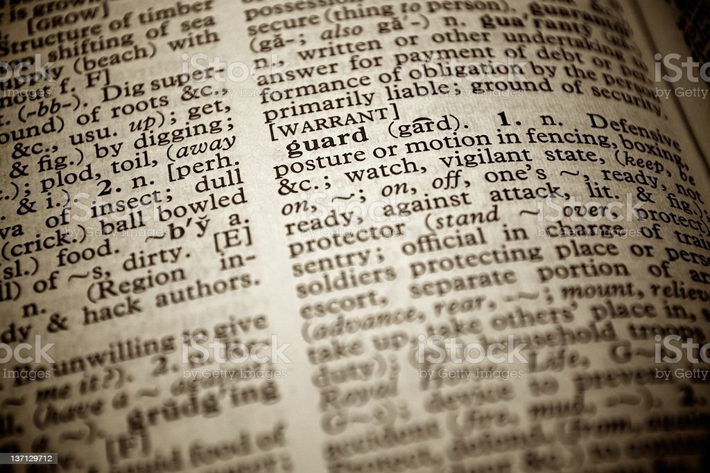 """Dictionary definition of the word """"Guard"""" royalty-free stock photo"""