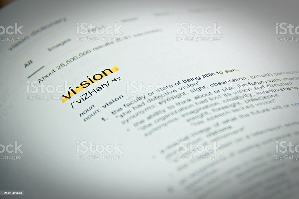 Dictionary definition of the word vision, close up, selective focus stock photo