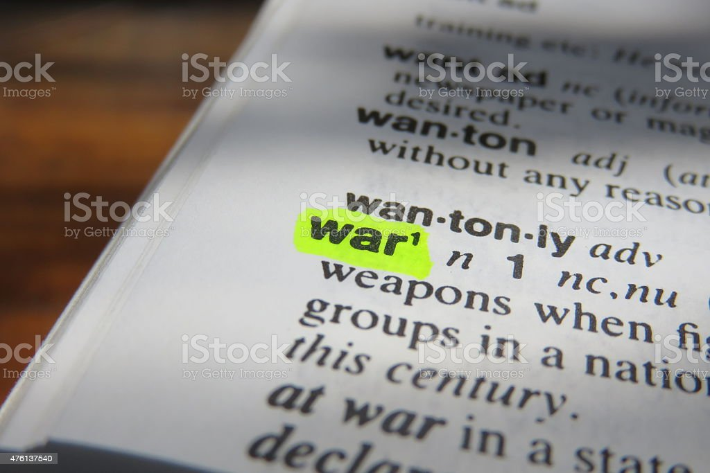 Dictionary definition of war stock photo