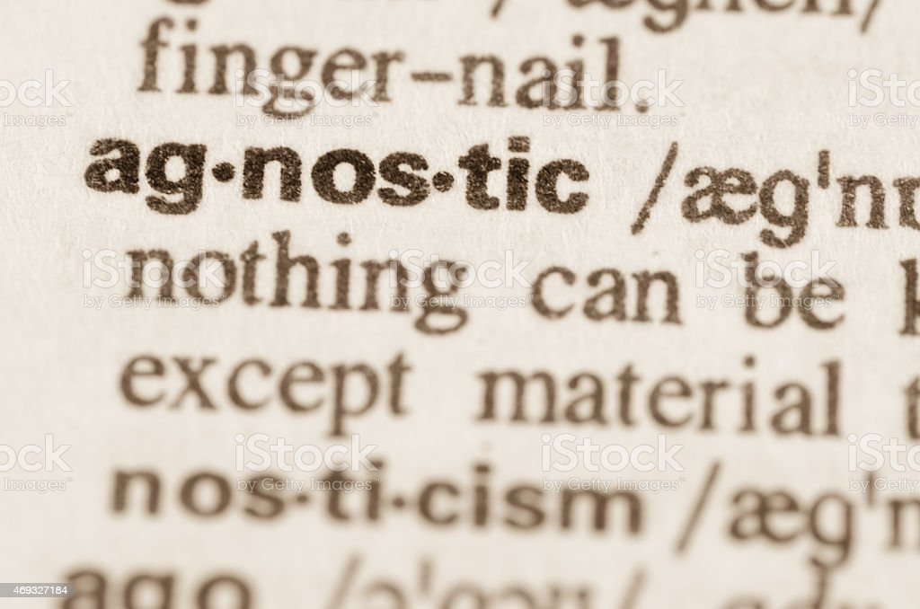 Dictionary definition of word agnostic stock photo