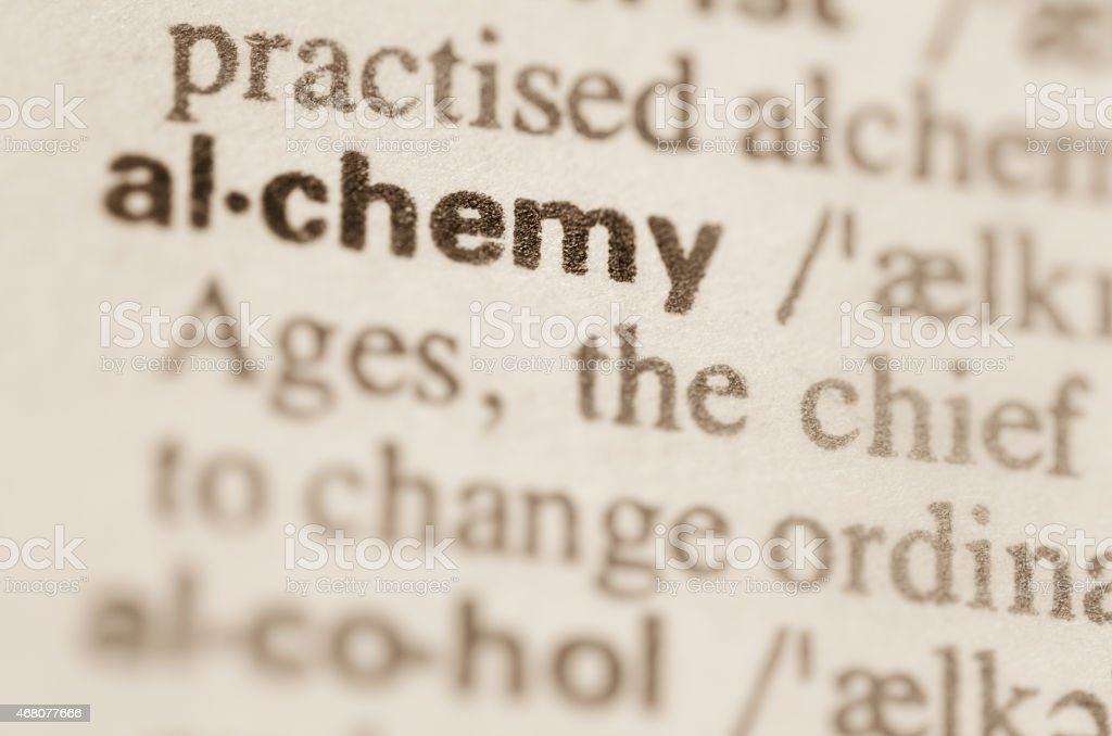 Dictionary definition of word alchemy stock photo