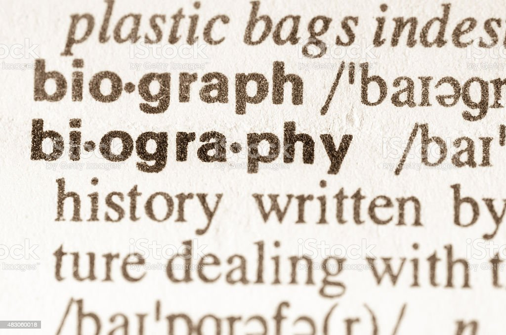 Dictionary definition of word biography stock photo
