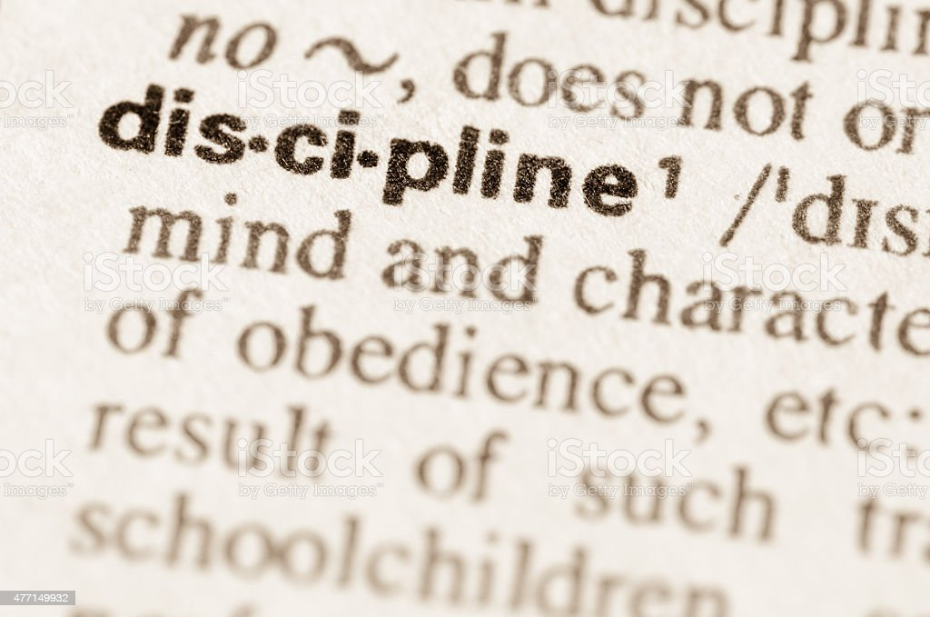 Dictionary definition of word discipline stock photo
