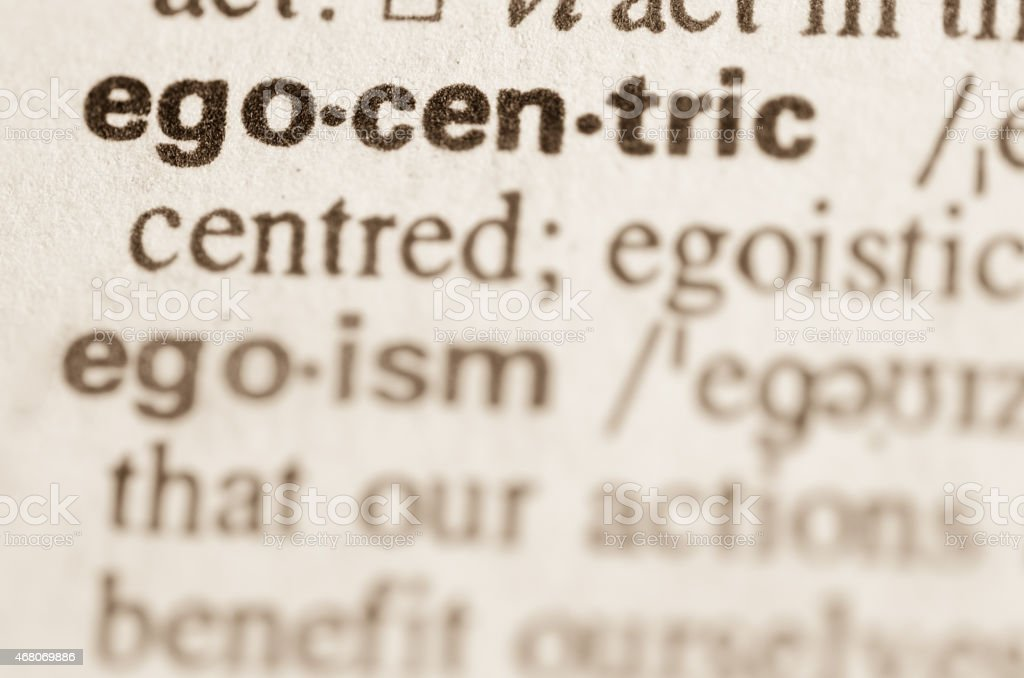 Dictionary definition of word  egocentric stock photo