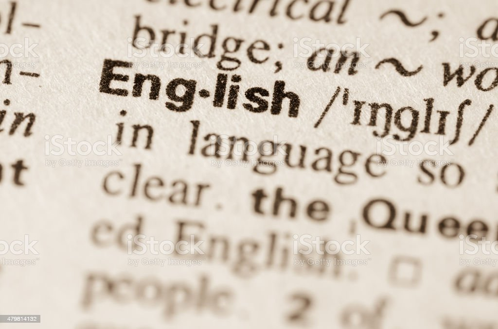 Dictionary definition of word English stock photo
