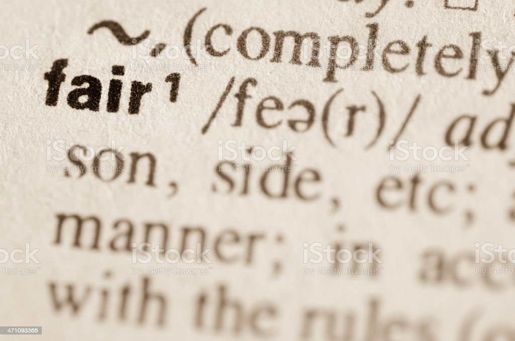 Dictionary definition of word fair stock photo