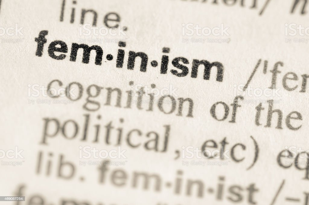 Dictionary definition of word feminism stock photo