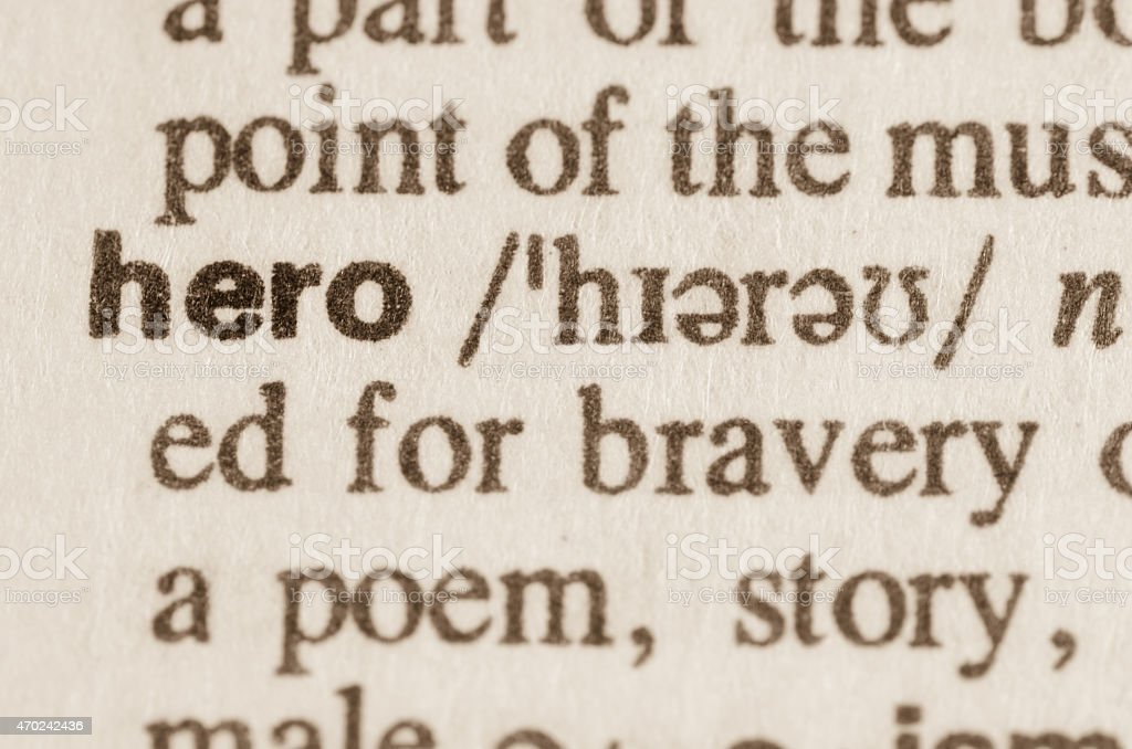 Dictionary definition of word hero stock photo