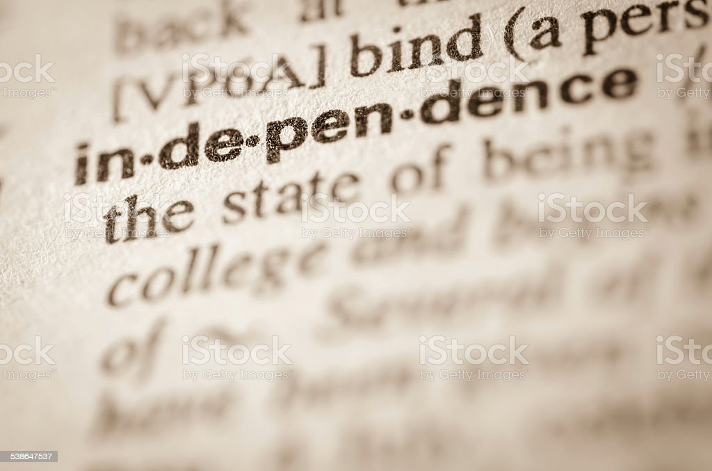 Dictionary definition of word independence stock photo