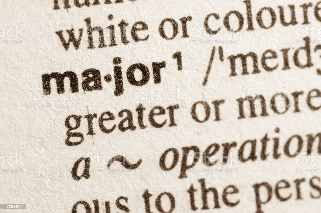 Dictionary definition of word major stock photo