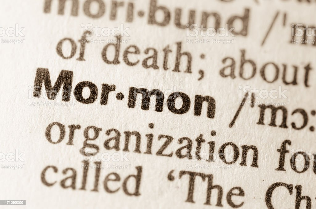 Dictionary definition of word Mormon stock photo