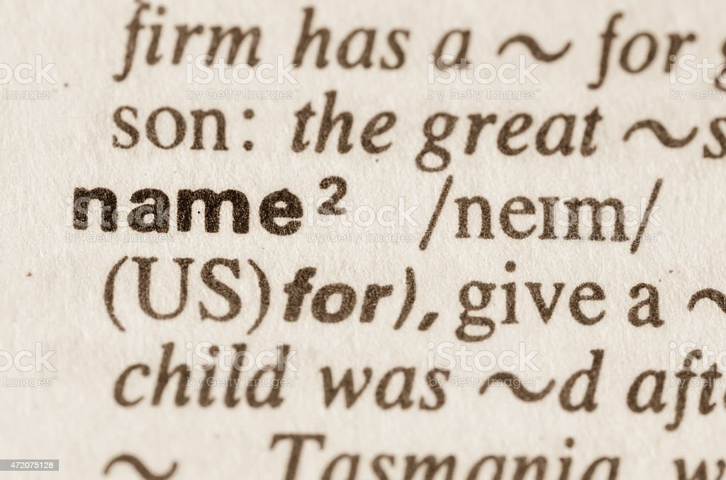 Dictionary definition of word name stock photo