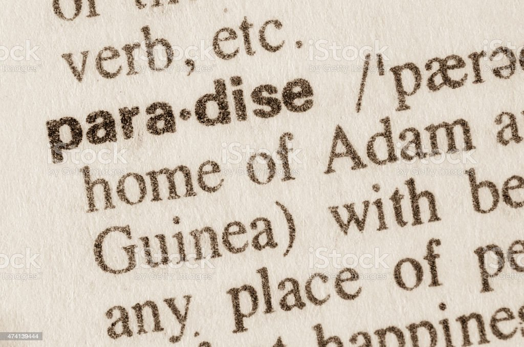Dictionary definition of word paradise stock photo
