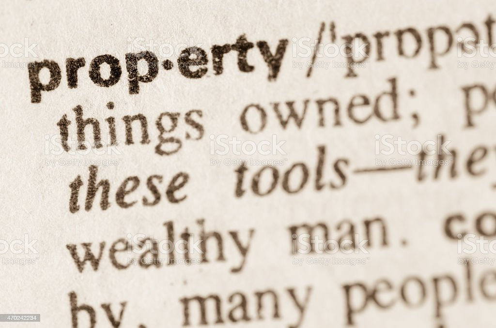 Dictionary definition of word property stock photo