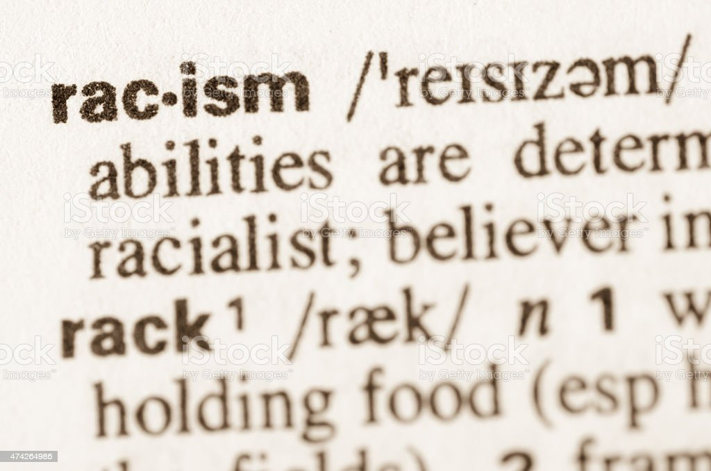 Dictionary definition of word racism stock photo