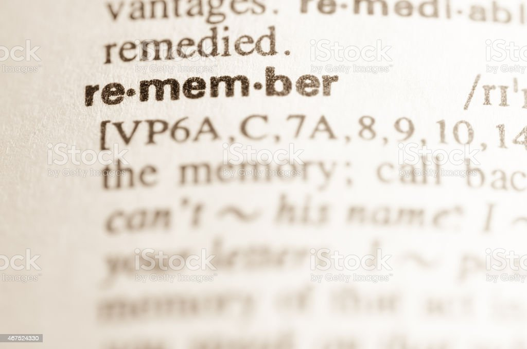 Dictionary definition of word remember stock photo
