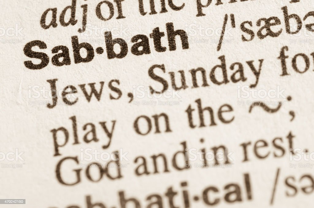 Dictionary definition of word Sabath stock photo
