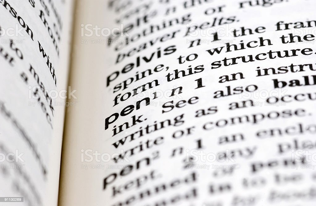 Dictionary Definition: Pen royalty-free stock photo