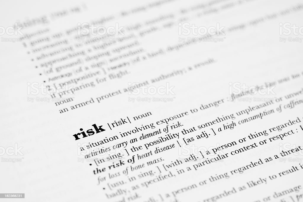 Dictionary definition - Risk. royalty-free stock photo