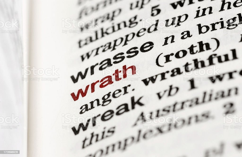 Dictionary Definition: Wrath royalty-free stock photo
