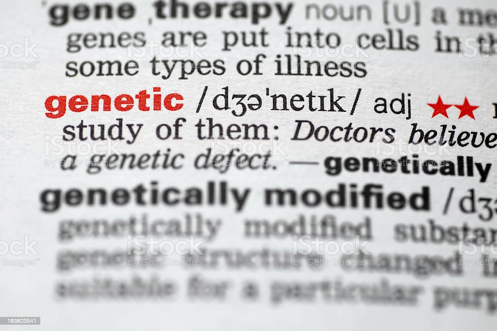 Dictionary genetic genetically modified,DNA, royalty-free stock photo