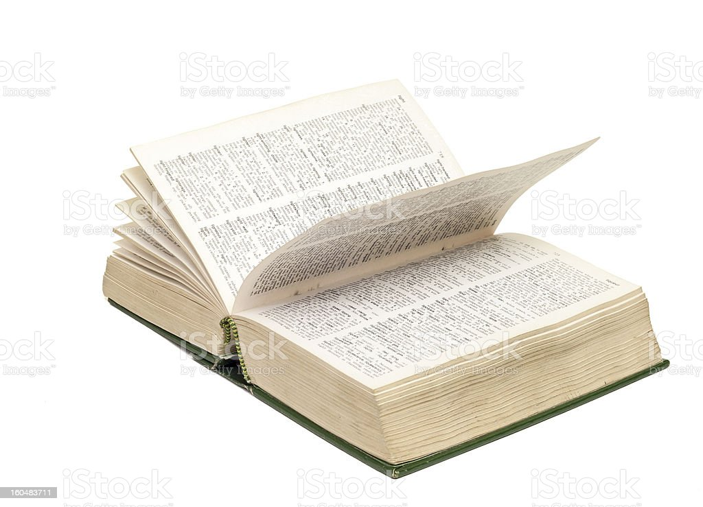 Dictionary Opened on White Background royalty-free stock photo
