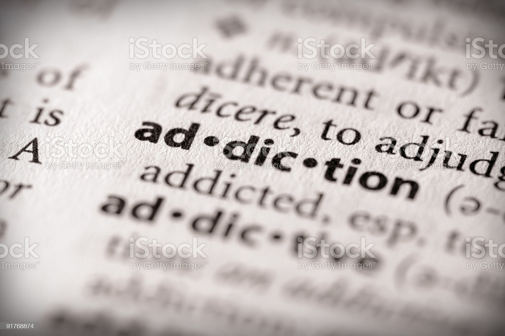 Dictionary Series - Health: Addiction royalty-free stock photo