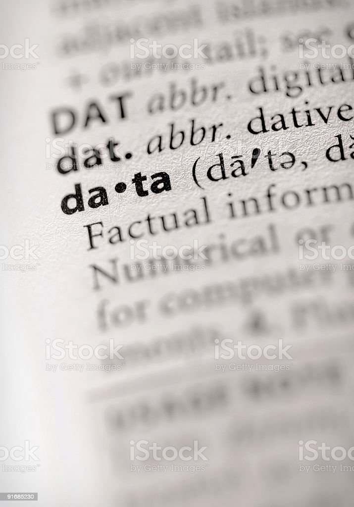 Dictionary Series - Info: data royalty-free stock photo
