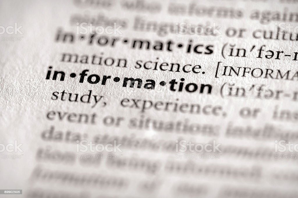Dictionary Series - Info: information royalty-free stock photo
