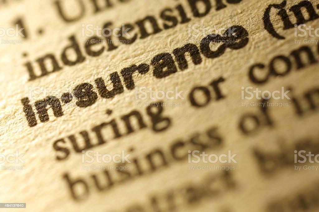 Dictionary Series - Insurance stock photo