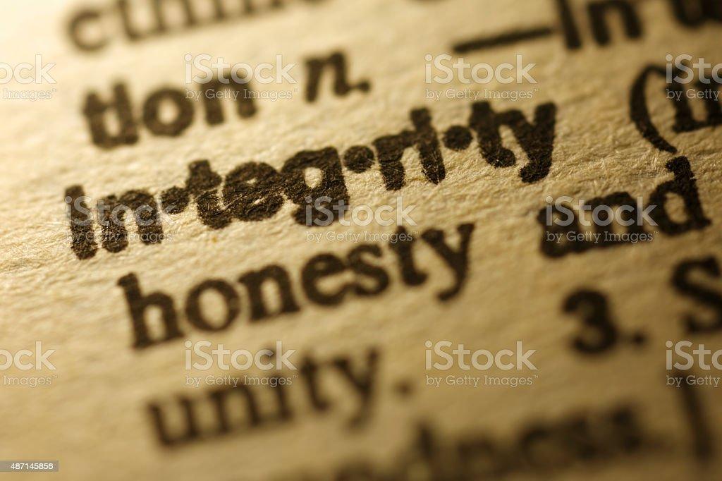 Dictionary Series - Integrity stock photo